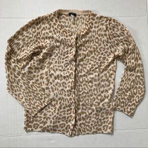 J. Crew Leopard Cardigan Sz M